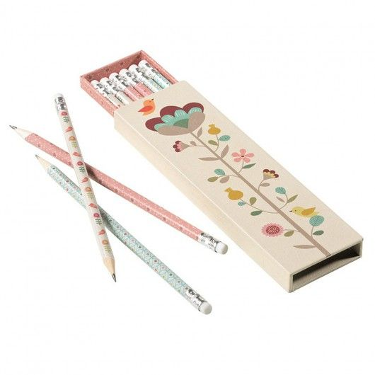 Pencils and box with flower design