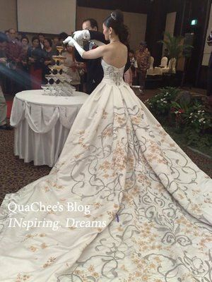 Indonesian batik Wedding Dress, wow, this is an incredible gown, the train is stunning!