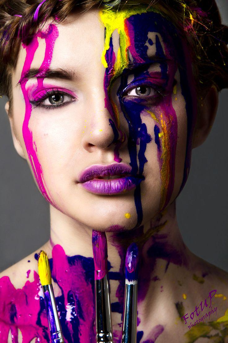 Women Paint Splashed On Face