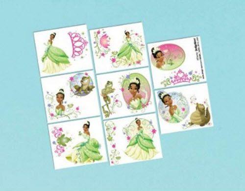 Tiana Temporary Tattoos Disney Princess & Frog Birthday Party Supplies 16 Pcs