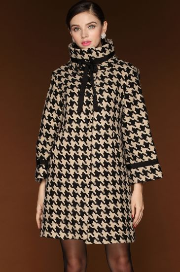Black White Long Sleeve Houndstooth Woolen Coat