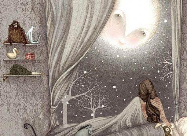 Mujer mirando a la luna por la ventana de su habitaci n for Un cuarto con luna facebook
