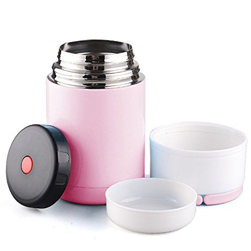OUMOSI 800ml Thermo Insulated Stainless Steel Vacuum Food Jar Wide-Mouth Lunch Container (Pink)
