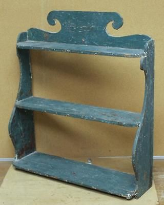 RARE 19TH C SCALLOPED HANGING 3 TIER WALL SHELF GRUNGY OLD BLUE PAINTED SURFACE. Sold Ebay 402.00