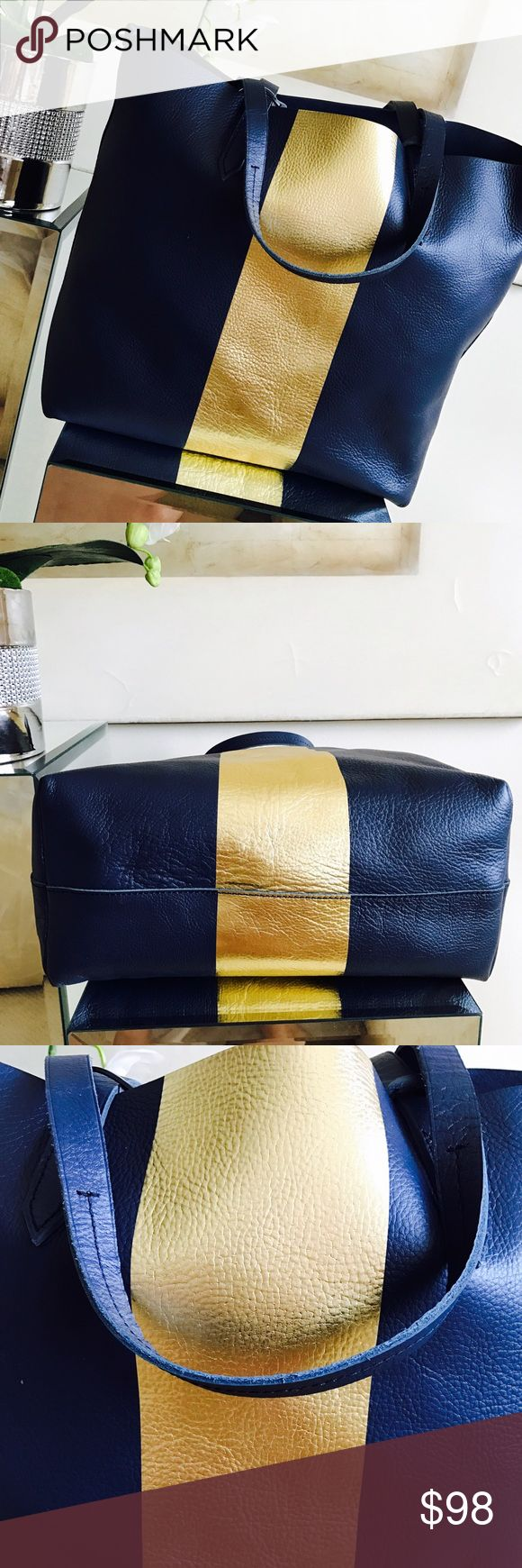 J. Crew Delaney Tote Bag - Brand New - Navy & Gold Beautiful J Crew Delaney tote new with tags. Perfect as functional daily career bag or dressy weekends. Please see pictures and measurements attached. Perfect item for bundles. Thanks! 💋💋 J. Crew Bags Totes