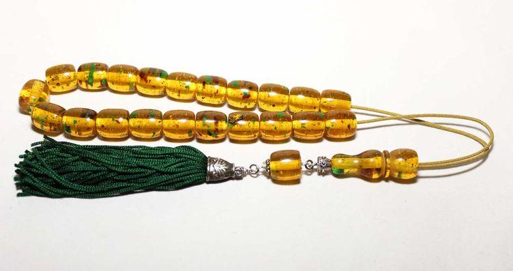 Honey-Green Amber color Worry Beads, Handmade Greek Komboloi, Tesbih, Handmade Green color tassel, Relaxation, Meditation. Code: sd2084_21 by AlterDecoCoinsnBeads on Etsy