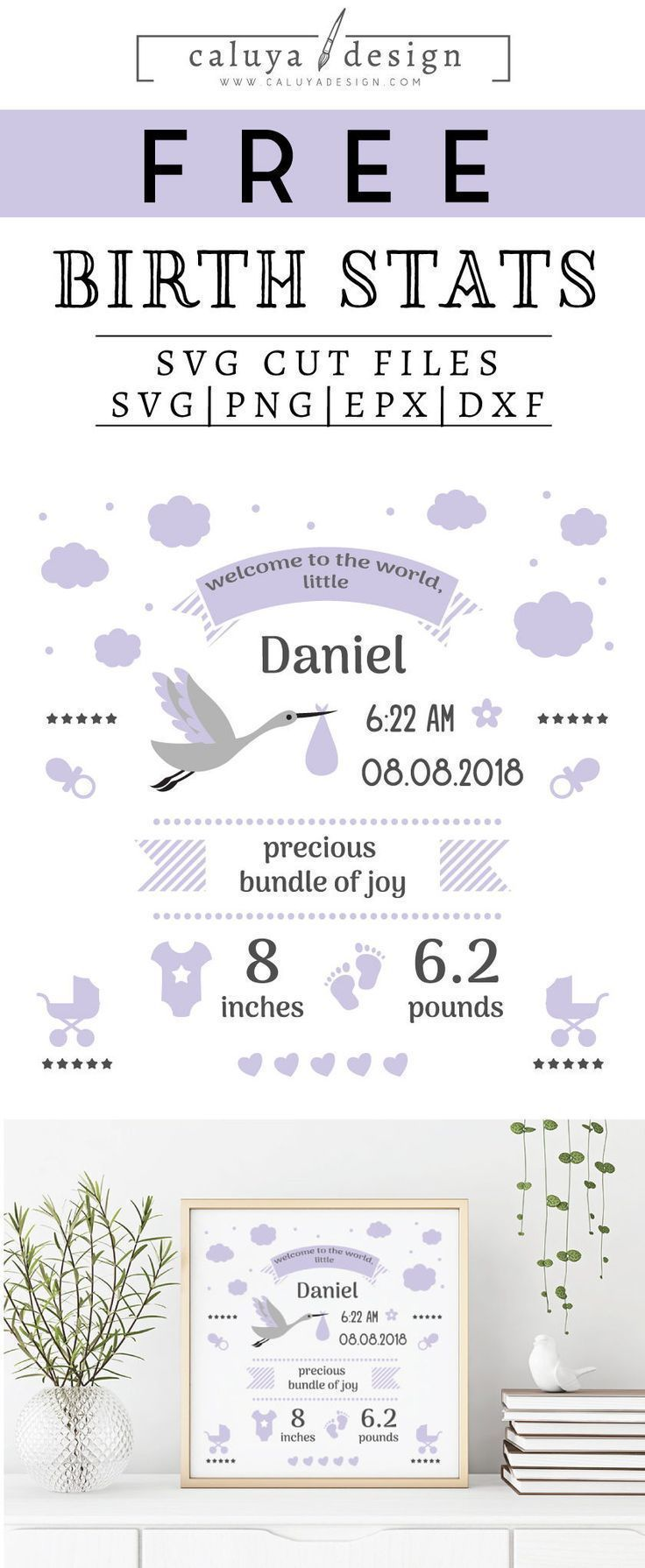 Free Birth Stats Board Svg Png Eps Dxf By Cricut Free