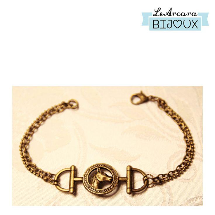 braccialetto composto 2 fili di catena e centrale con staffe e cavallo  https://www.facebook.com/le.arcarabijoux