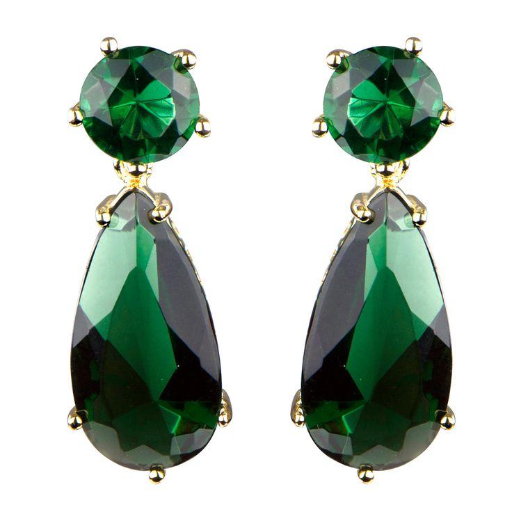 Vintage Dark Green CZ Pear Drop Gold Tone Earrings - 1.2 inches long