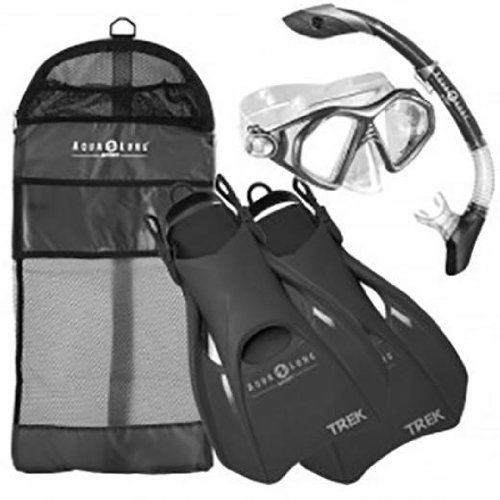 Aqua Lung Sport Admiral 2 LX, Island Dry LX & Trek Snorkeling Set Medium Black. Fins. Includes: Mask. Soft and comfortable foot pocket with adjustable strap. Aqua Lung Sport Admiral 2 LX Mask, Island Dry LX Snorkel & Trek Fin Set Admiral LX Two Lens Mask Silicone face skirt provides the ultimate comfort Tempered glass lens for safety Pinch & pull adjustable buckles Island Dry Flex Snorkel 100% submersible dry top with Pivot Dry Technology One-way purge valve Full flex section...