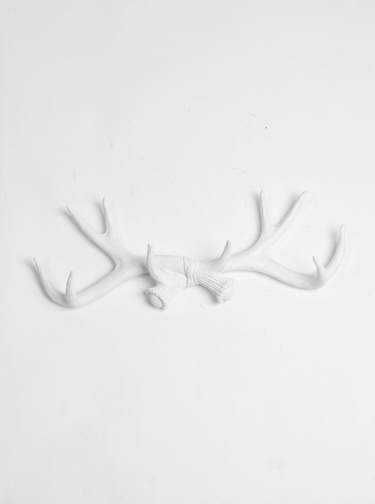 White Faux Taxidermy - White Antler Wall Rack   Antler Hook   White Resin, $39.99 (http://www.whitefauxtaxidermy.com/product/faux-antler-wall-rack-white-resin/)