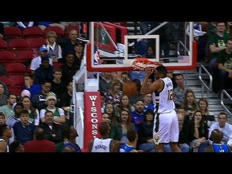Jabari Parker Slam Dunk; Hits Head on the Rim!