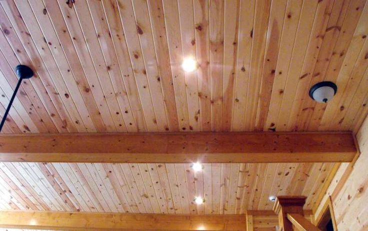 interior pine wood paneling clear Family Room Ceiling ...