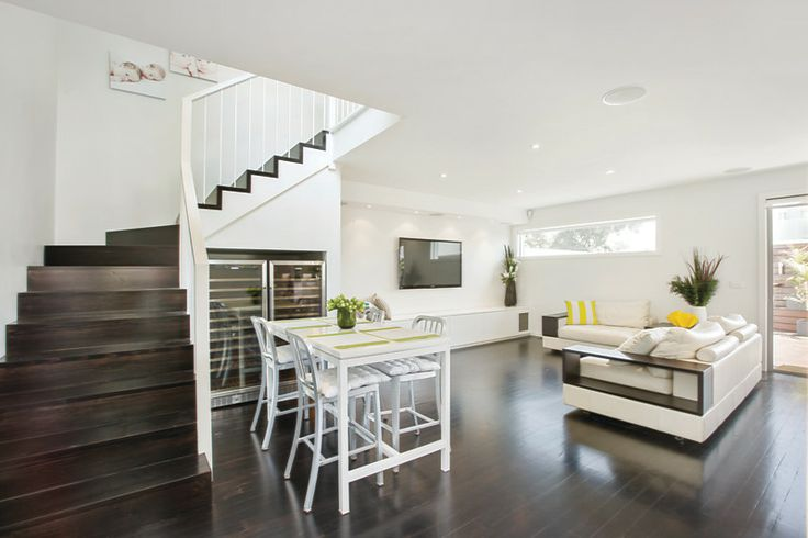 Superior1: Dark timber floor boards. This renovation illustrates the comprehensive, high quality and modern renovation that Superior1 completed on this inner city home.