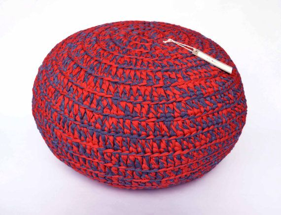 Pouf Crochet large - T Shirt Yarn - Red and Grey on Etsy, $105.44