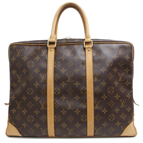 """Authentic Louis Vuitton Monogram Porte Documents Voyage Briefcase  CONDITION: Good. Light wear on corners, patina and marking on vachetta leather, light marking on interior lining.  Material: Canvas Color: Brown Date Code: BA2028 Exterior Features: Rolled leather top handles, top double zipped opening, gold tone hardware Interior Features: Brown interior lining, zipped compartment, three slip pockets, pouch pocket Measurements: 16"""" x 12"""" x 2.5"""" Included: Lock & keys"""