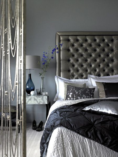 grey, black & silver bedroom