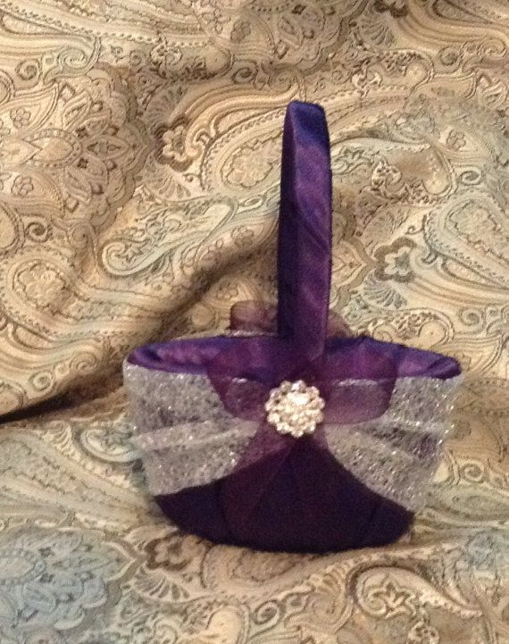 wedding flower girl basket dark plum purple and silver color custom made on Etsy, $20.99