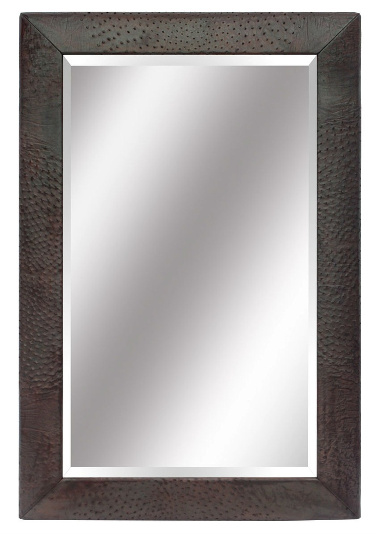 Wall Mirrors, Luxury Designer Brown Ostrich Leather Mirror $1495 so glamorous, one of over 3,000 limited production interior design inspirations inc, furniture, lighting, mirrors, tabletop accents and gift ideas to enjoy repin and share at InStyle Decor Beverly Hills Hollywood Luxury Home Decor enjoy & happy pinning
