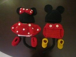Crochet Mickey and Minnie Baby Costume http://followthestray.hubpages.com/hub/Crochet-Baby-Outfit