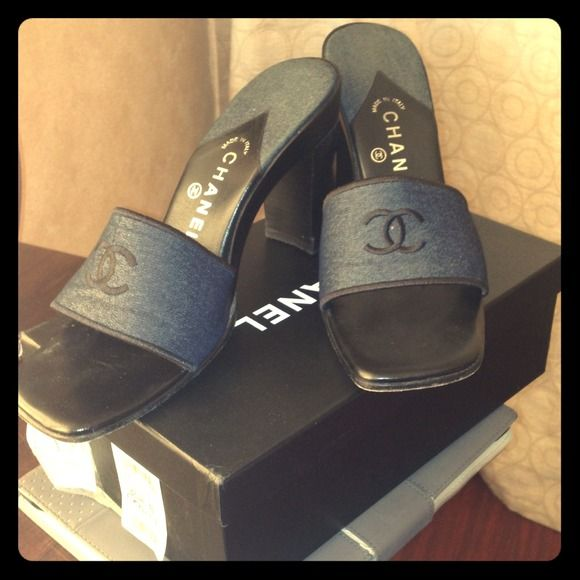 Chanel Denim heels Authentic chanel denim slides. Comes with box CHANEL Shoes Heels