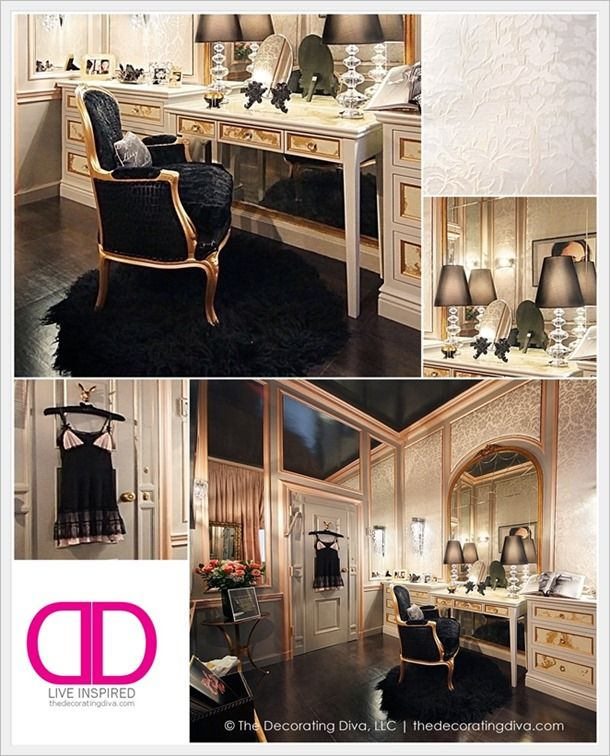 NYC Holiday House: Sophisticated Parisian Inspired Dressing Room Design by Claudia Giselle | The Decorating Diva, LLCWoman Cave