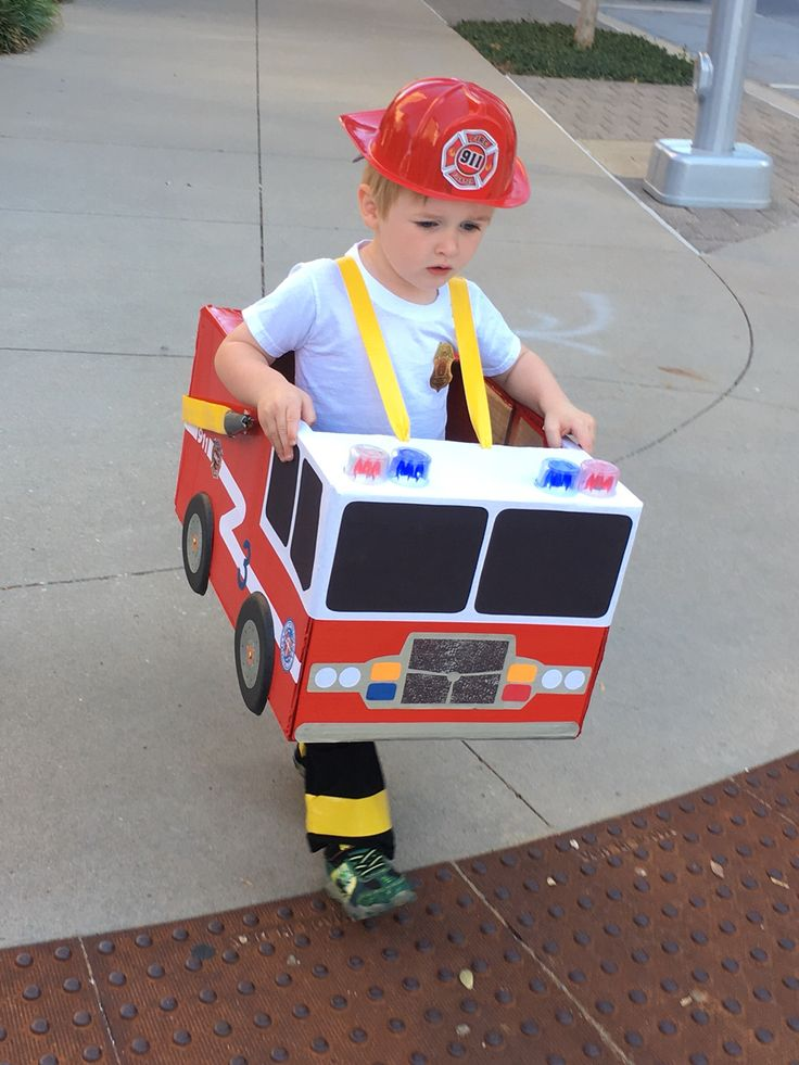 Toddler preschool boy fireman fire truck Halloween costume cardboard box fire truck