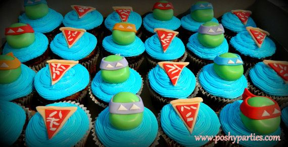 SALE-Ninja Turtles Cupcake Toppers 24ct-ninja turtle cupcakes-ninja cupcake toppers-ninja turtle birthday