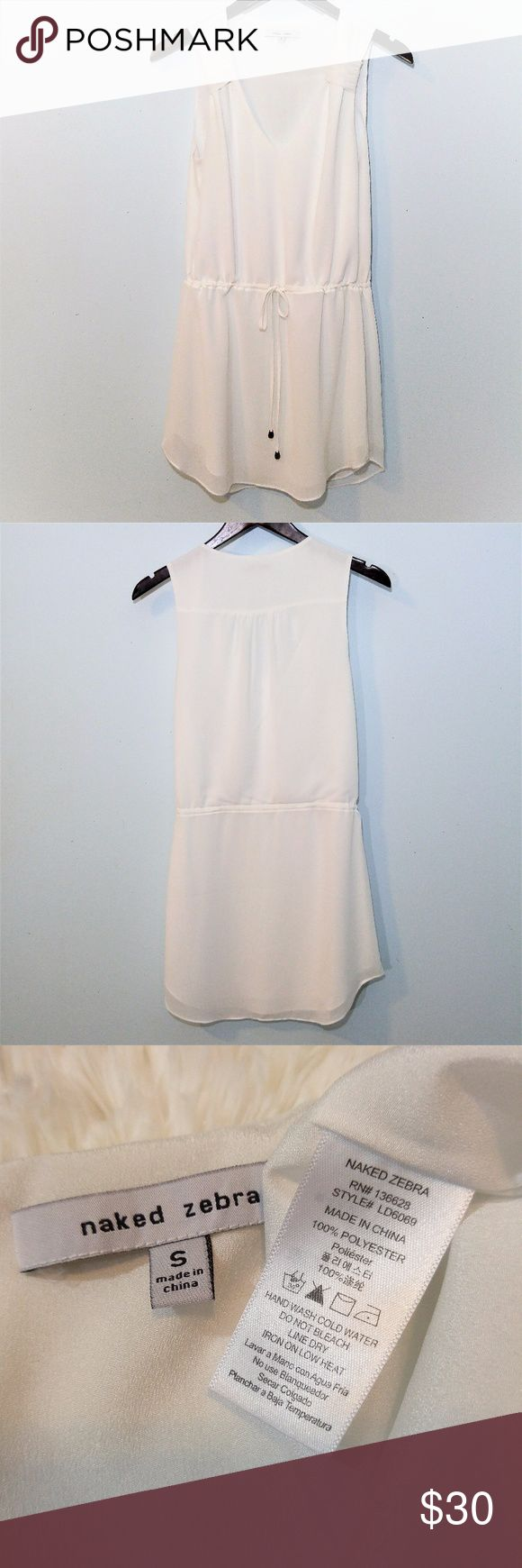 Naked Zebra Sexy White Dress size S Super sexy Naked Zebra white dress with drawstring waist and gathered details above the V-neckline.  Somewhat sheer so plan your undergarments (or lack thereof) accordingly :) Perfect for a honeymoon, vacation or a spring/summer date night! No holes, stains or flaws.  SUPER FAST same day or next business day shipping. Bundles always discounted, offers welcomed! Thanks for looking :) Naked Zebra Dresses Mini