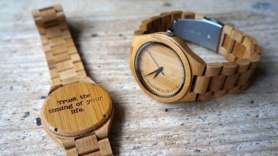 Bamboo wooden Watch / Wristwatch  engraved by CreativeUseofTech