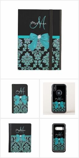 #Teal #turquoise glitter Black #Damask, #Bow, Monogram collection. Elegant, Teal turquoise glitter, Black Damask, Bow, diamond, Personalized, Name & Monogram design for iphonecases, ipad cases. Above black color block with name and monogram, at the middle a printed teal turquoise green ribbon and bow with a shiny diamond. At the bottom Teal turquoise green glitter and black damask pattern. Lovely pattern electronics cases, sleeves, #iphonecases and more.