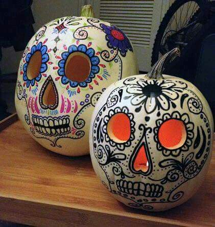 Day of the dead sugar skull diy halloween pumpkin live