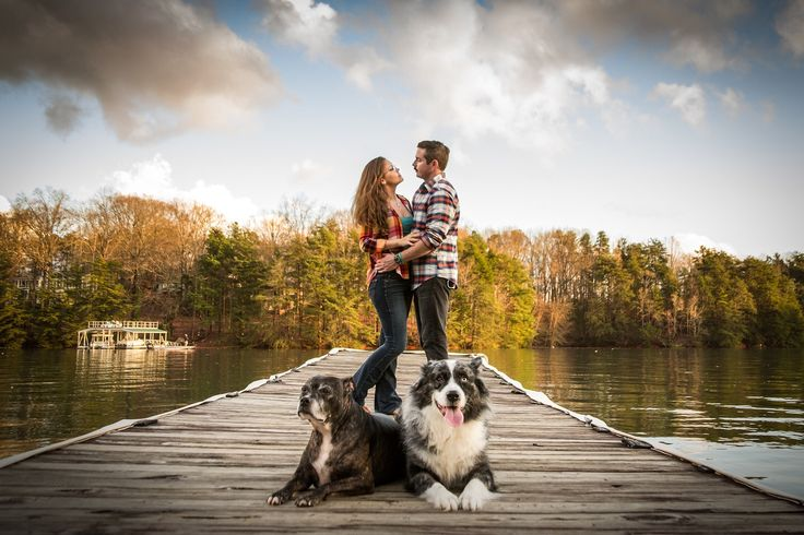 Engagement photo of couple with dogs. The dogs are getting married too :)
