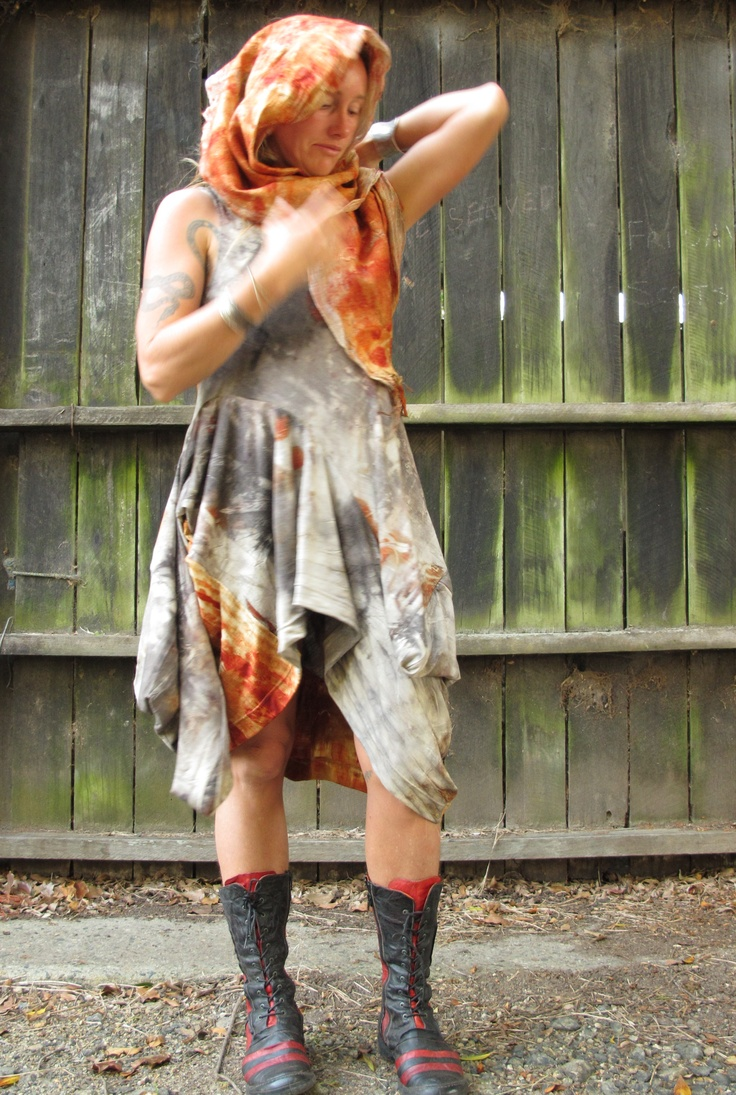 Wool jersey dress, dyed with Gondwana Colour. Created by Susan Fell Mclean Gondwana Textiles Australia