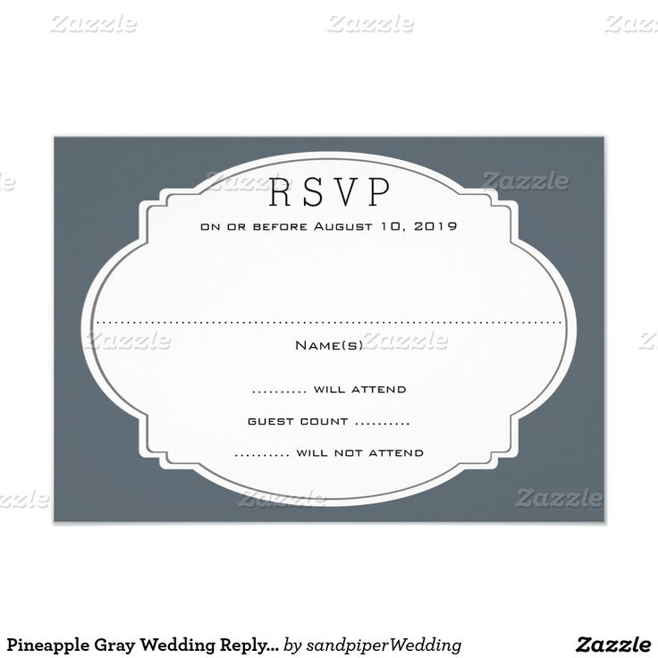 Pineapple Gray Wedding Reply Card