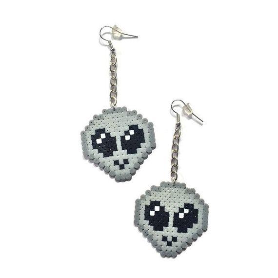 外星人 Alien on a Chain Dangle Earrings Mini Perler Beads by Kewlery