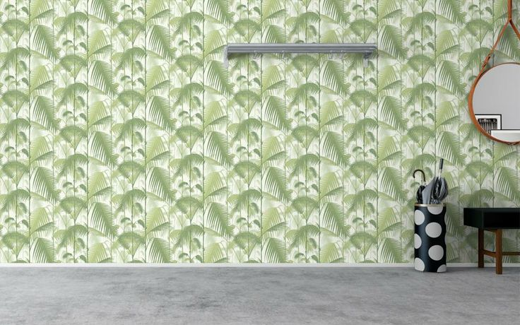 Cole and Son wallpaper Contemporary restyled collection 'Palm Jungle' Khaki palms, creme background