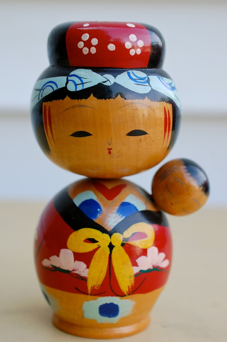 Vintage Japanese Kokeshi Doll, Mother in Kimono Wearing Baby in a Sling, $14.00, via Etsy.