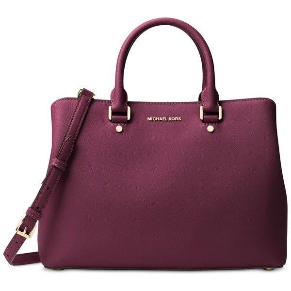 Michael Michael Kors Savannah Large Satchel ($368) ❤ liked on Polyvore featuring bags, handbags, plum, michael kors satchel, purple purse, handbag satchel, satchel style handbag and structured satchel handbag