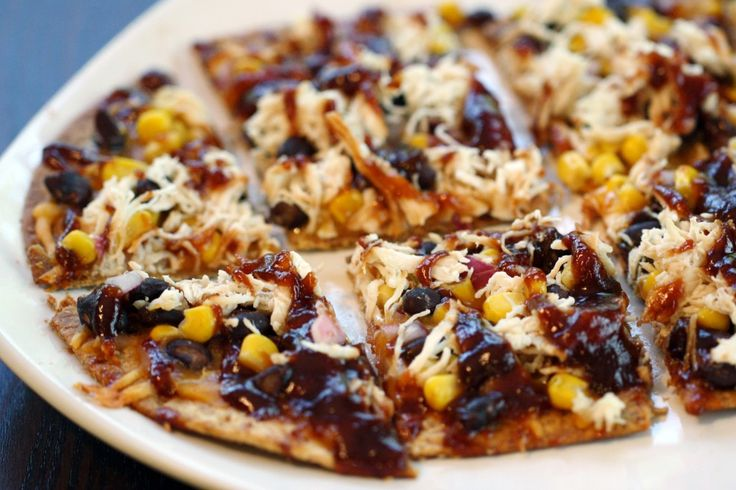 BBQ Chicken Flatbread: lower calorie pizza--I would add red peppers for more veggies. Would be great to freeze extra for a quick re-heatable dinner in the oven!