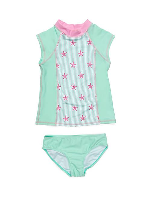 a2c371263b Crown & Ivy™ Girls 7-16 2-Piece Mint Starfish Rash Guard Set ...