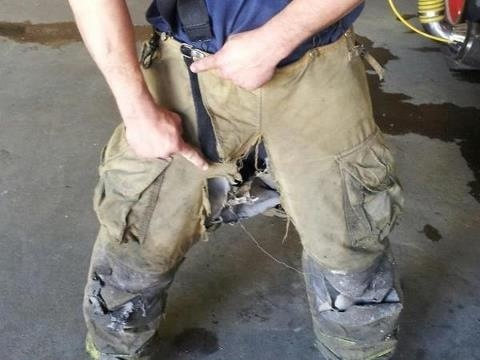 This picture sums up the current state of the Detroit fire department, and the absolute disregard for human life by the city officials of Detroit. This is bunker gear that a Detroit fireman wears into fires every time he is on duty. The city states that they have no money to replace the gear, and at around 3-4,000 dollars a set, a firemans salary can't afford it either.