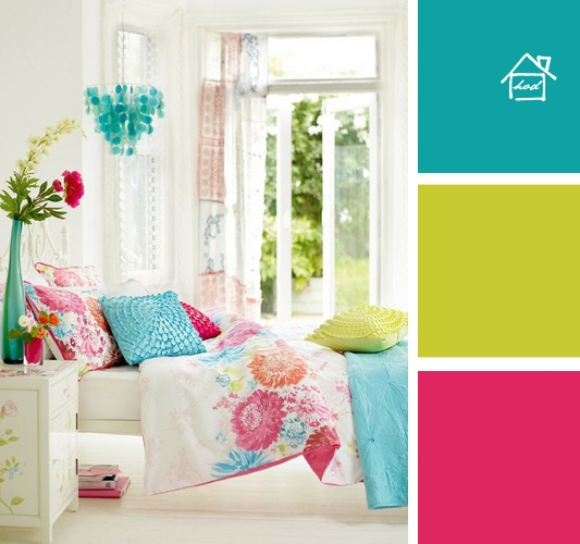 Turquoise, lime green and fuchsia against all white furniture
