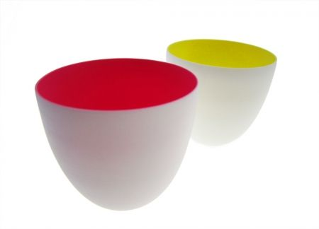 Ceramic Bowls: Pink + Yellow - hardtofind.