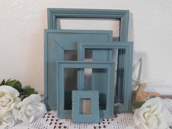 Blue Frame Set Rustic Shabby Chic Distressed Beach Cottage Picture Photo Coastal Living French Country Farmhouse Lake Cabin Home Decor