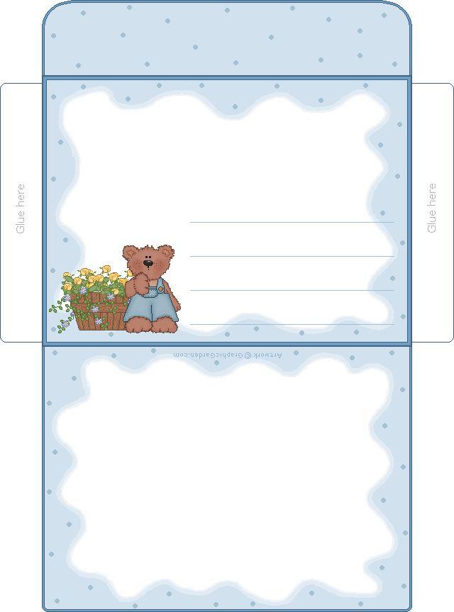 Printable Blue Bear Envelope