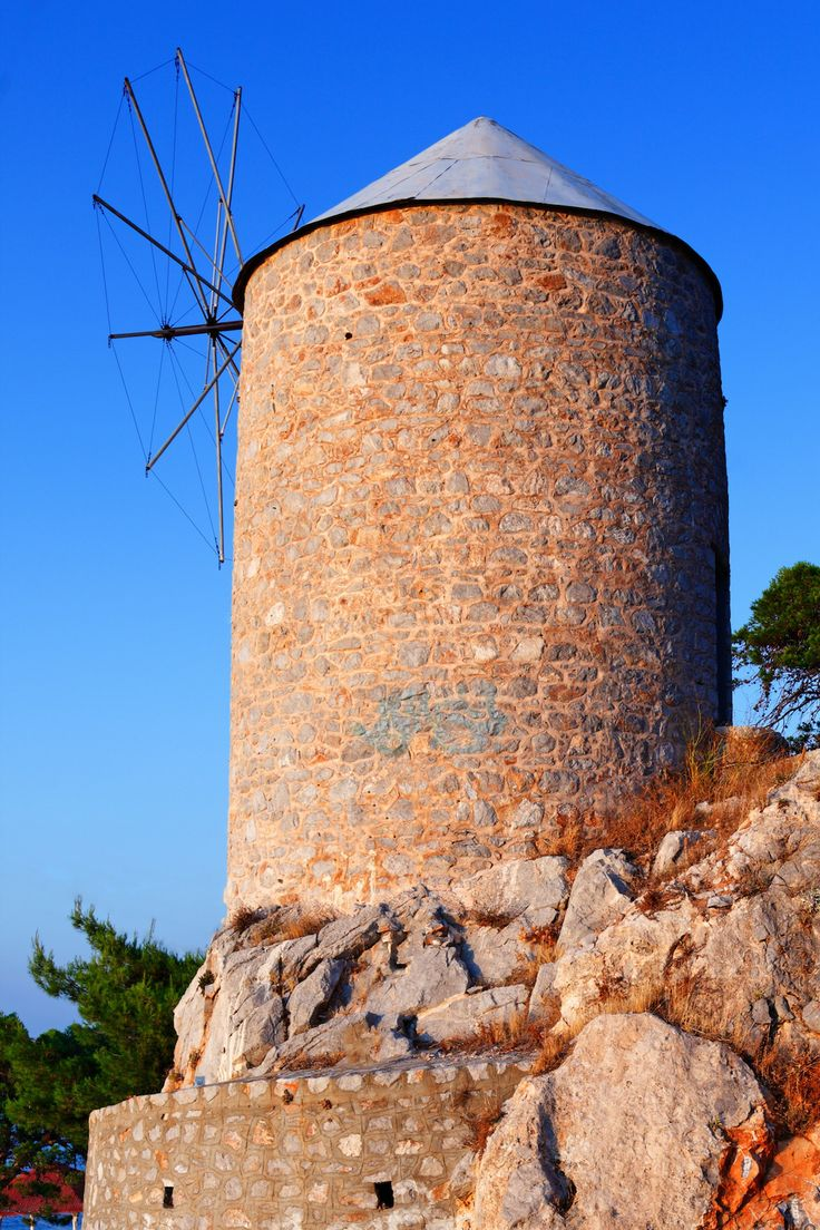 Old windmill on Hydra island, Greece