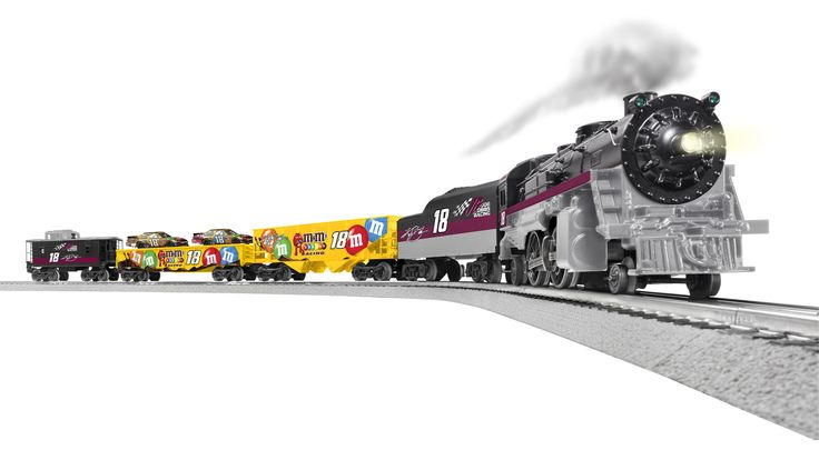 Kyle Busch fans won't want to miss this new train set from Lionel! Each of these Ready-to-Run O-Gauge trains are designed with driver and team graphics so fans can show their support of Kyle Busch. The gondola car even holds two 1:64 scale No. 18 die-cast (included)!  Place your order now at www.lionelnascar.com, the NASCAR Superstore, or your hometown independent retailer.