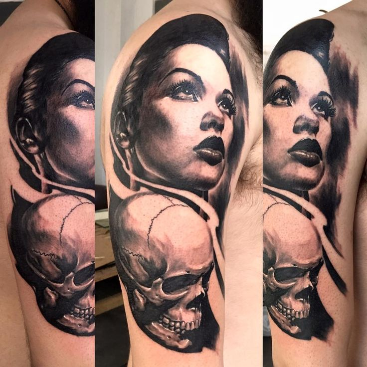 black and grey realistic portrait and skull tattoo by SKERYONE