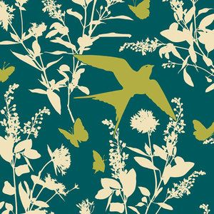Joel Dewberry - Bungalow Rayon - Swallow Study Rayon in Teal